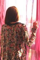 coral floral print Zara shirt
