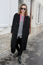 black Choies boots - black COS coat - hot pink Zara blazer - black hm shirt