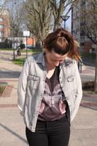 black Topshop boots - black acne jeans - silver Zara shirt