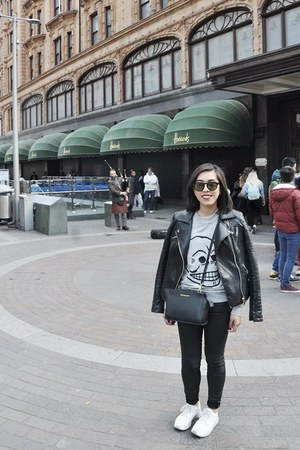 black Zara jacket - black Michael Kors bag - black Cheap Monday sunglasses