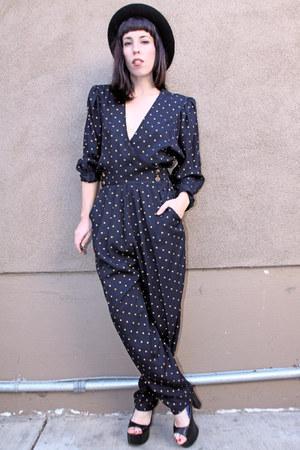 black polka dot vintage bodysuit - black Jeffrey Campbell heels