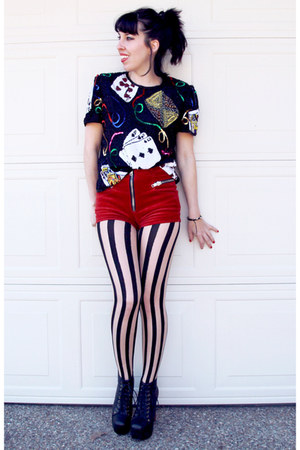 black lita Jeffrey Campbell boots - neutral tights - red velvet UNIF shorts