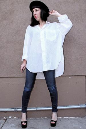 white menswear Issey Miyake shirt - navy J Brand jeans - black vintage hat