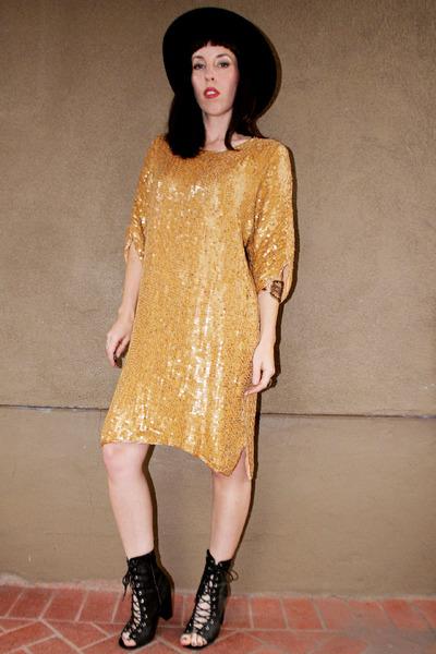 gold sequins beads vintage dress - black Jeffrey Campbell boots