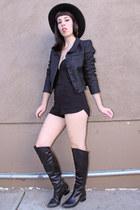 black silk Chloe jacket - black high-waisted Reformation shorts