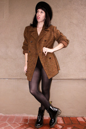 brown wool vintage coat - black patent leather doc martens boots