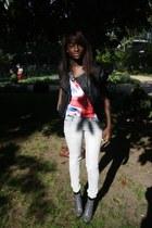 love it c&a t-shirt - camaieu jacket -  heels