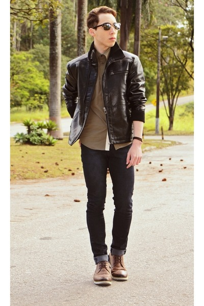Brown Leather Jacket Black Shoes - Pl Jackets