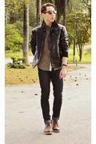 black Handbook Leather Jacket jacket - brown Ferracini Shoes shoes