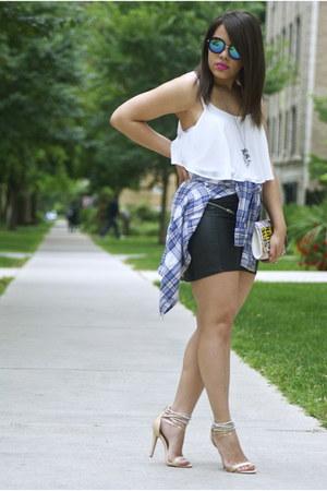 Forever 21 top - Mango shirt - zeroUV sunglasses - H&M skirt - Forever 21 heels