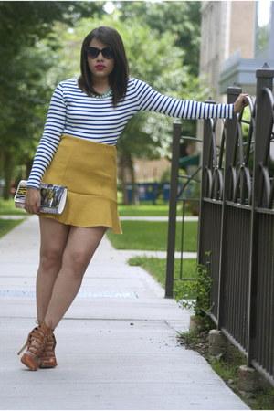 H&M top - Guess sunglasses - GoJane heels - H&M skirt