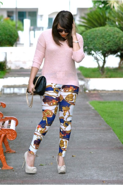 To sweater - Lucky Brand leggings - Handbag Heaven purse - Qupid heels