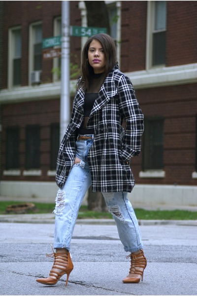 Macys coat - Forever 21 jeans - Arden B bodysuit - GoJane heels