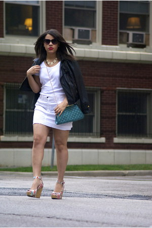 Guess sunglasses - Guess skirt - Chinese Laundry wedges - tommy bahama t-shirt