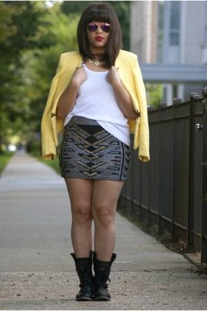Forever 21 skirt - Ebay boots - Zara blazer - tommy bahama shirt