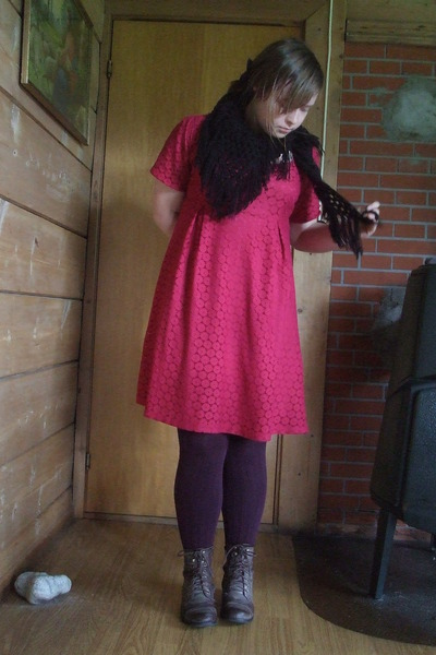 red lace H&M dress - brown boots - purple Pierre Robert tights