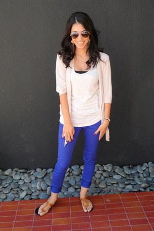 blue Tinseltown Denim jeans - ray-ban sunglasses - beige H&M top