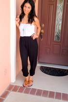 black H&M pants - white gift top - aquamarine Forever21 necklace