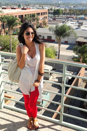 red Forever21 pants - eggshell Urban Outfitters bag - neutral H&M top