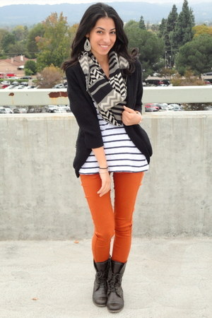 burnt orange foreign exchange pants - dark brown Cathy Jean boots