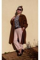 dark brown shoes - brown Max Mara coat - black Versace for H&M shirt