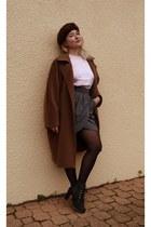 brown Max Mara coat - gray French Connection skirt