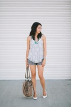 gray shorts - ivory lace top - white heels