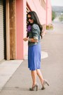 Blue-old-navy-dress-the-limited-jacket-quay-sunglasses-candies-heels