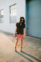 coral skirt - black polka dot blouse
