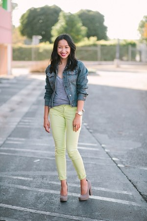 blue jean jacket - lime green jeans - heather gray shirt - heather gray heels