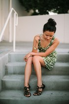 olive green dress - black Shoedazzle sandals
