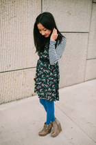 heather gray boots - navy free people dress - blue tights - black striped top