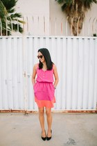 hot pink color block dress - black heels