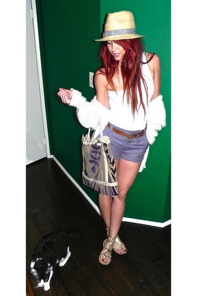 ded609f7df395 straw fedora liz claiborne hat - oversized sweater - bag - Jcrew shorts -  one sh
