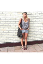 knit bag - leopard print scarf - denim Wrangler shorts - leather belt - top