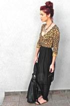 black bag - silver D & G necklace - black high waisted vintage pants