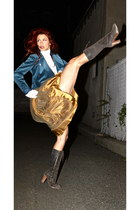 Frye boots - velvet jacket - vintage top - tulle maxi skirt
