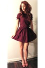 Maroon-miu-miu-dress-red-glitter-heels