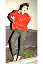 carrot orange fur vintage coat - army green pants - silver vintage heels