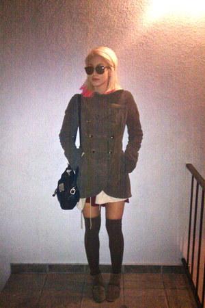 babydoll Miu Miu dress - suede Steve Madden boots - coat
