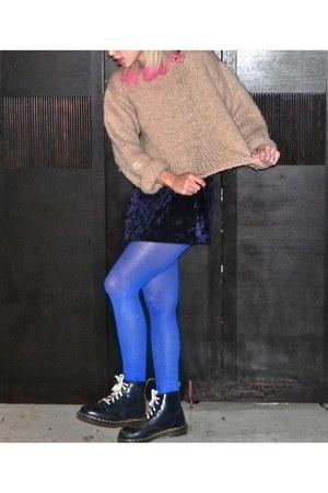 navy Dr Martens boots - navy velvet dress - camel cropped vintage sweater
