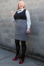 Black-houndstooth-henry-lee-dress-black-nylon-tights-red-fioni-heels