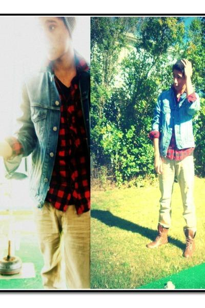 Men S Denim Jacket Levi Jackets Beenie Neff Hats Red Flannel