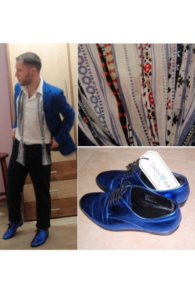 blue Lanvin x H&M shoes - blue Zara blazer - white castro shirt