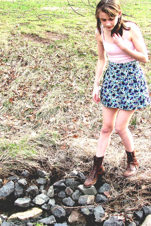 blue H&M skirt - brown boots - pink Wet Seal shirt