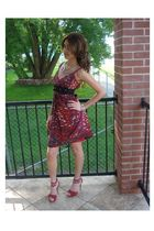 red BCBG dress - red shoes - silver necklace - silver bracelet