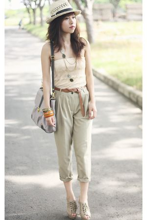 beige Zara pants - beige Charles & Keith shoes - Forever 21 hat