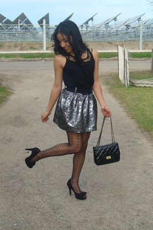 black Topshop stockings - silver Charlotte Russe skirt - black Forever 21 shoes
