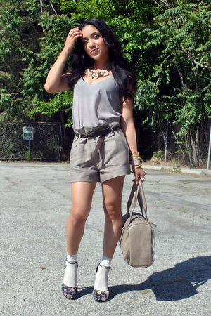 brown Forever 21 shorts - gold casio accessories - pink Forever 21 accessories