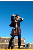 black American Apparel top - black Forever21 boots - black Forever21 leggings